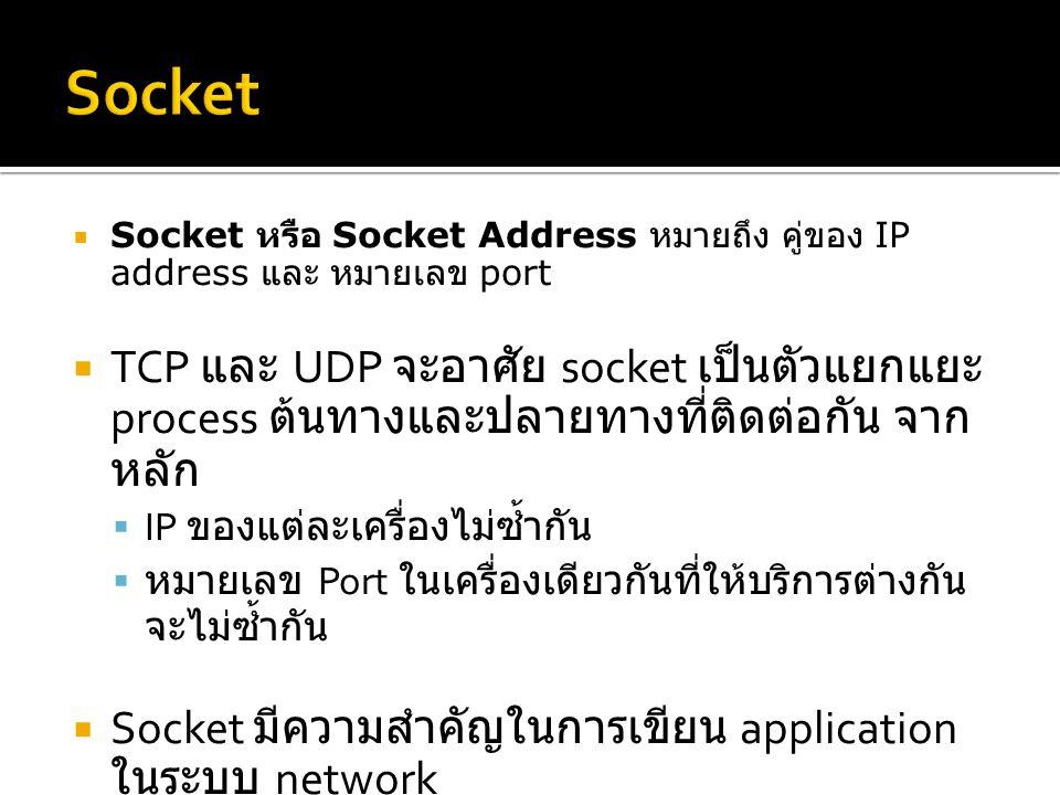  Socket หรือ Socket Address หมายถึง คู่ของ IP address และ หมายเลข port  TCP และ UDP จะอาศัย socket เป็นตัวแยกแยะ process ต้นทางและปลายทางที่ติดต่อกัน จาก หลัก  IP ของแต่ละเครื่องไม่ซ้ำกัน  หมายเลข Port ในเครื่องเดียวกันที่ให้บริการต่างกัน จะไม่ซ้ำกัน  Socket มีความสำคัญในการเขียน application ในระบบ network