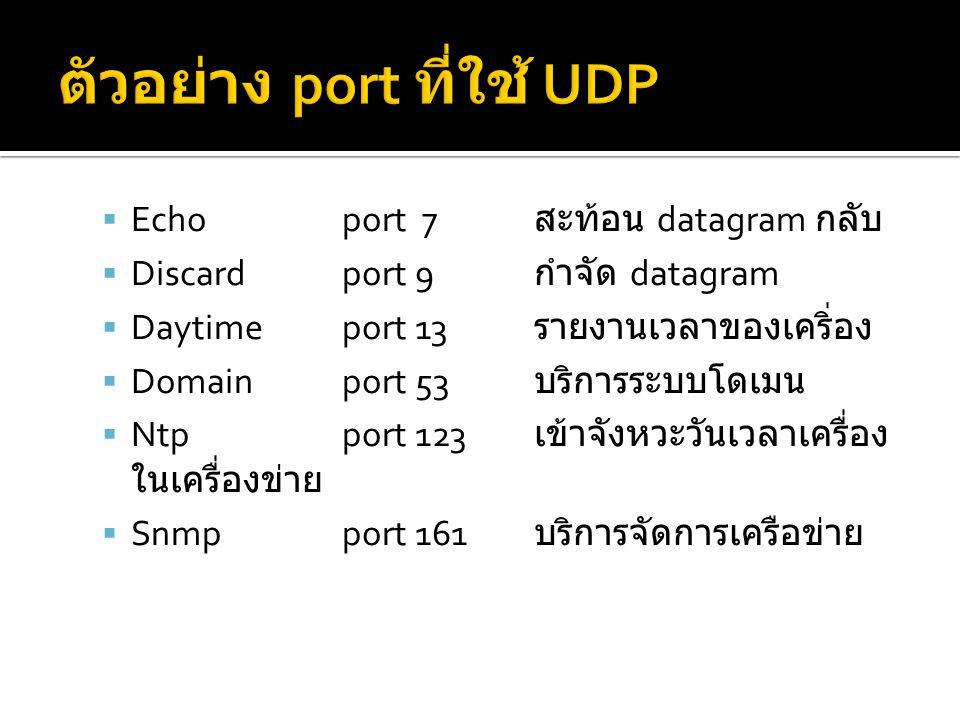  Echoport 7 สะท้อน datagram กลับ  Discardport 9 กำจัด datagram  Daytimeport 13 รายงานเวลาของเคริ่อง  Domainport 53 บริการระบบโดเมน  Ntpport 123 เข้าจังหวะวันเวลาเครื่อง ในเครื่องข่าย  Snmpport 161 บริการจัดการเครือข่าย
