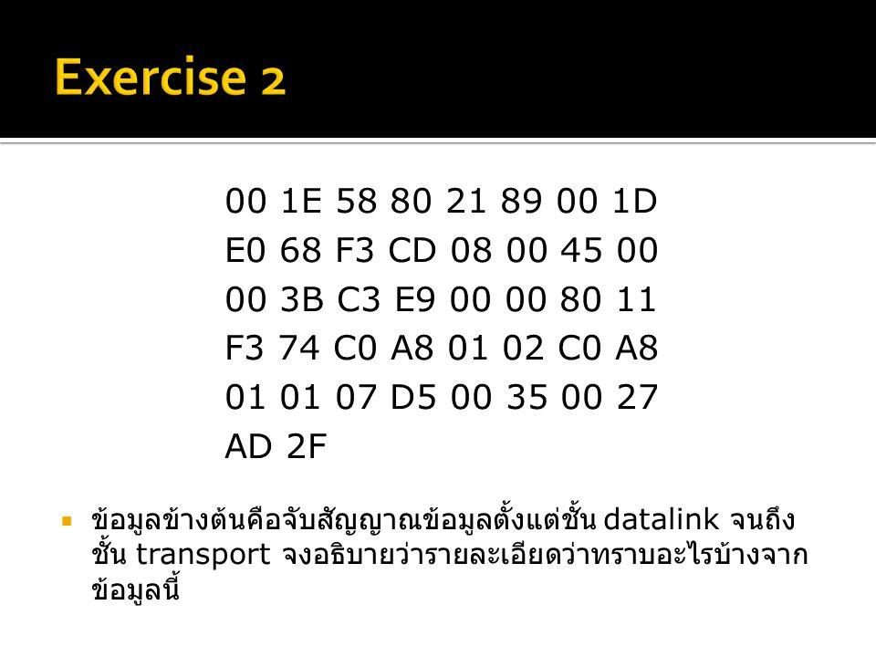 00 1E 58 80 21 89 00 1D E0 68 F3 CD 08 00 45 00 00 3B C3 E9 00 00 80 11 F3 74 C0 A8 01 02 C0 A8 01 01 07 D5 00 35 00 27 AD 2F  ข้อมูลข้างต้นคือจับสัญญาณข้อมูลตั้งแต่ชั้น datalink จนถึง ชั้น transport จงอธิบายว่ารายละเอียดว่าทราบอะไรบ้างจาก ข้อมูลนี้