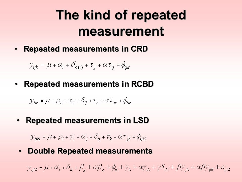 The kind of repeated measurement Repeated measurements in CRDRepeated measurements in CRD Repeated measurements in RCBDRepeated measurements in RCBD R