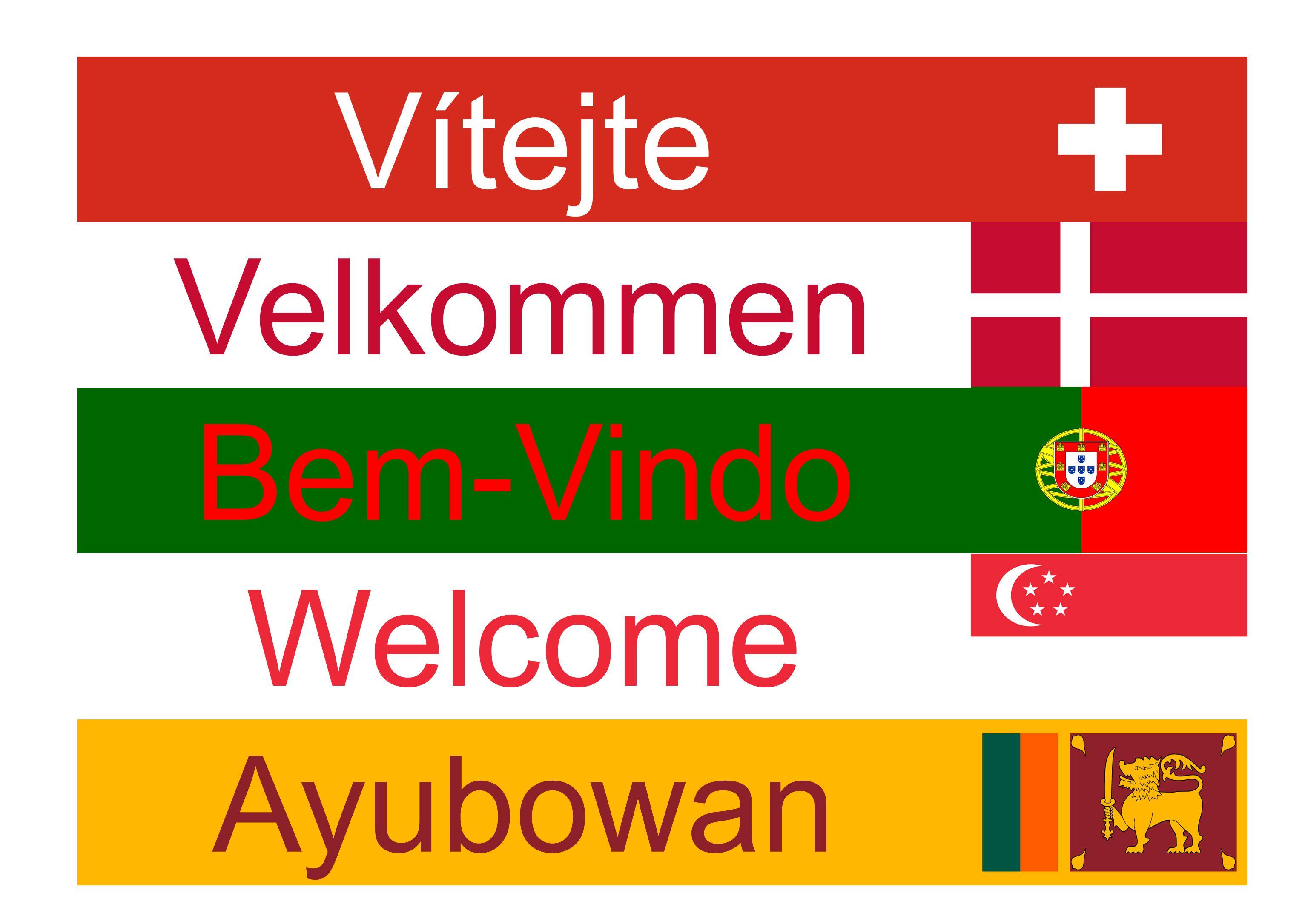 Ayubowan Welcome Velkommen Vítejte Bem-Vindo