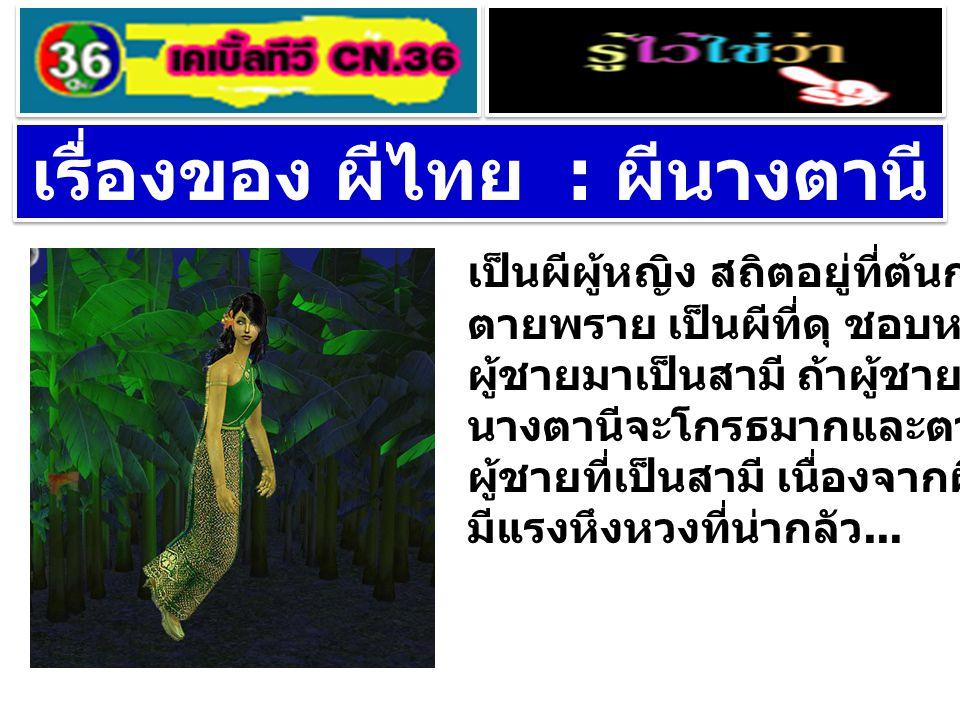 เรื่องของ ผีไทย : ผีนางตานี เป็นผีผู้หญิง สถิตอยู่ที่ต้นกล้วยตานี ตายพราย เป็นผีที่ดุ ชอบหลอกล่อ ผู้ชายมาเป็นสามี ถ้าผู้ชายไปมีหญิงอื่น นางตานีจะโกรธม