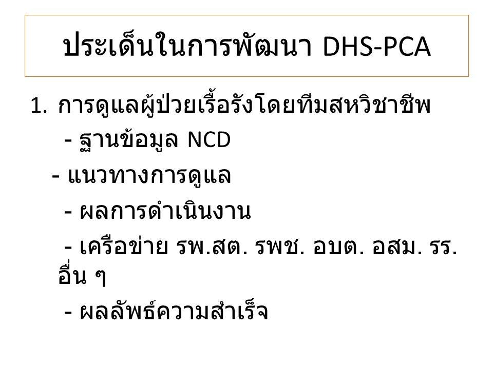 ประเด็นในการพัฒนา DHS-PCA 1. การดูแลผู้ป่วยเรื้อรังโดยทีมสหวิชาชีพ - ฐานข้อมูล NCD - แนวทางการดูแล - ผลการดำเนินงาน - เครือข่าย รพ. สต. รพช. อบต. อสม.