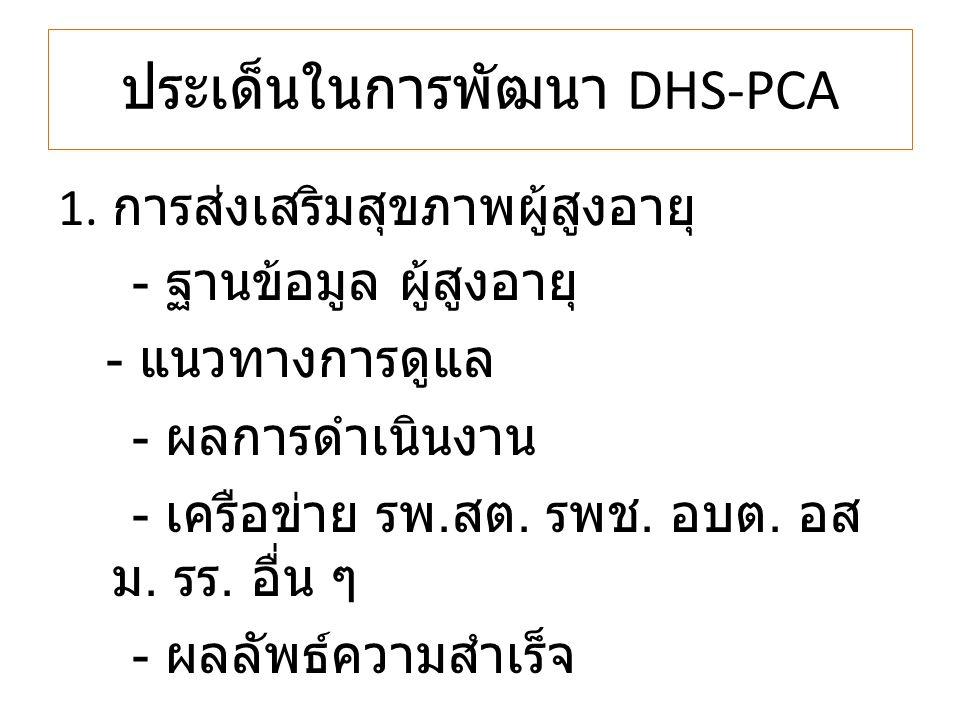 ประเด็นในการพัฒนา DHS-PCA 1. การส่งเสริมสุขภาพผู้สูงอายุ - ฐานข้อมูล ผู้สูงอายุ - แนวทางการดูแล - ผลการดำเนินงาน - เครือข่าย รพ. สต. รพช. อบต. อส ม. ร
