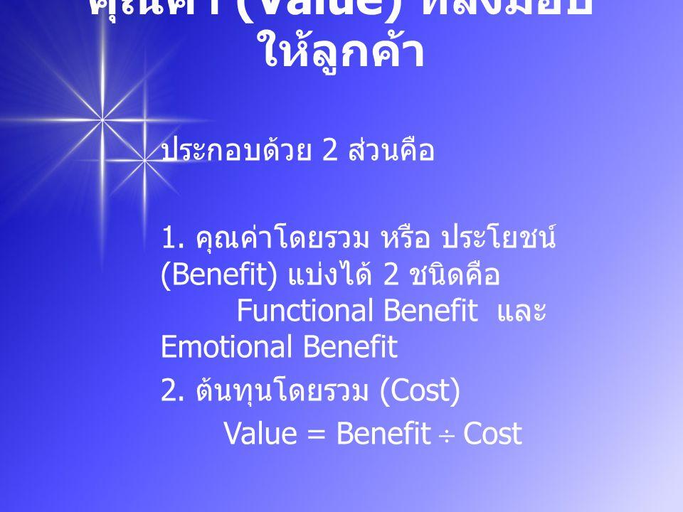 คุณค่า (Value) ที่ส่งมอบ ให้ลูกค้า ประกอบด้วย 2 ส่วนคือ 1.