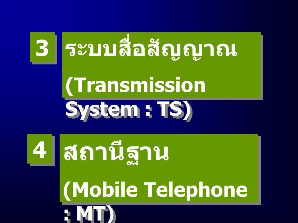 ชุมสาย โทรศัพท์เคลื่อนที่ (Mobile Telephone Exchange : MTX) ชุมสาย โทรศัพท์เคลื่อนที่ (Mobile Telephone Exchange : MTX) 1 1 สถานีฐาน (Base Station : BS) สถานีฐาน (Base Station : BS) 2 2