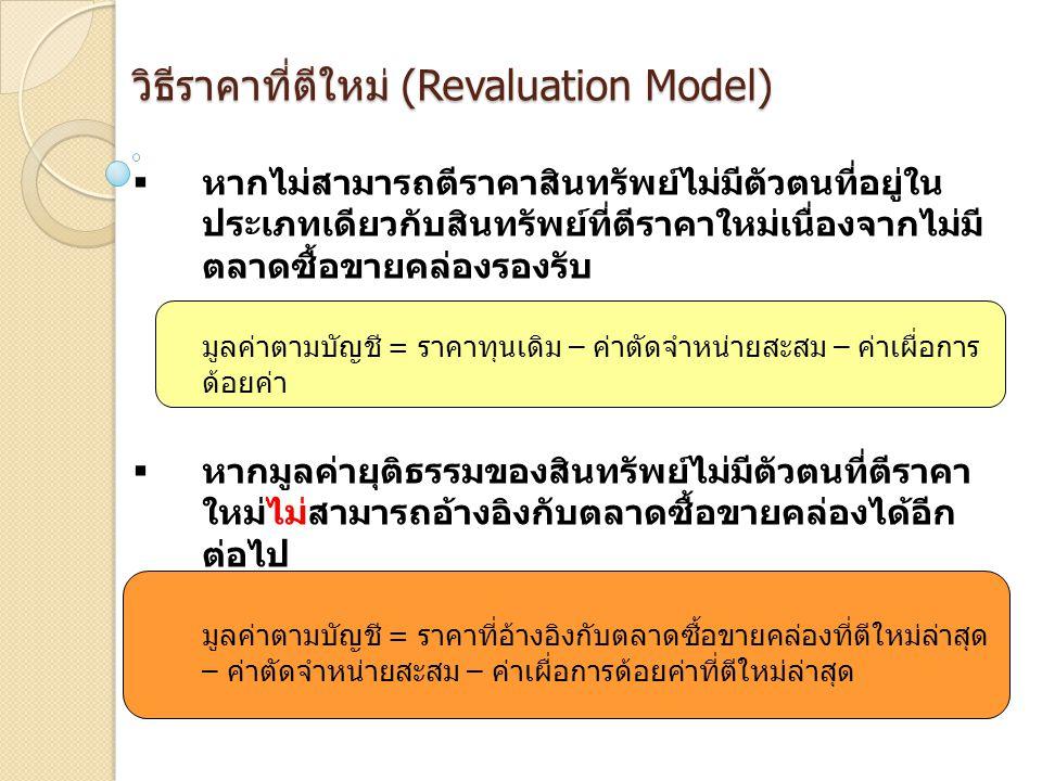 วิธีราคาที่ตีใหม่ (Revaluation Model)  หากไม่สามารถตีราคาสินทรัพย์ไม่มีตัวตนที่อยู่ใน ประเภทเดียวกับสินทรัพย์ที่ตีราคาใหม่เนื่องจากไม่มี ตลาดซื้อขายค