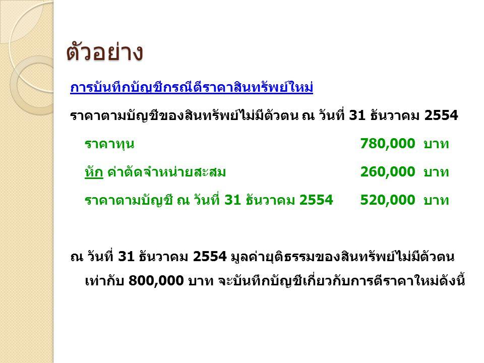 ตัวอย่าง การบันทึกบัญชีกรณีตีราคาสินทรัพย์ใหม่ ราคาตามบัญชีของสินทรัพย์ไม่มีตัวตน ณ วันที่ 31 ธันวาคม 2554 ราคาทุน 780,000 บาท หัก ค่าตัดจำหน่ายสะสม 2