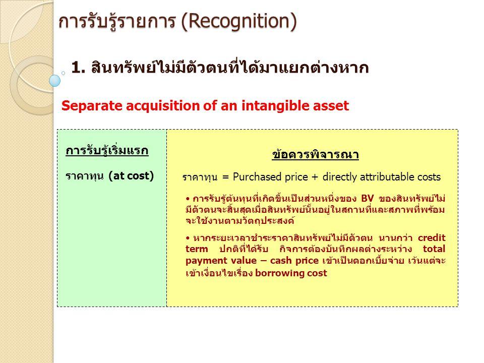 การรับรู้รายการ (Recognition) 1. สินทรัพย์ไม่มีตัวตนที่ได้มาแยกต่างหาก Separate acquisition of an intangible asset การรับรู้เริ่มแรก ข้อควรพิจารณา ราค