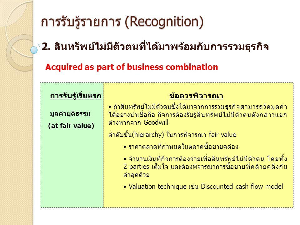 การรับรู้รายการ (Recognition) 2. สินทรัพย์ไม่มีตัวตนที่ได้มาพร้อมกับการรวมธุรกิจ การรับรู้เริ่มแรกข้อควรพิจารณา มูลค่ายุติธรรม (at fair value) ถ้าสินท