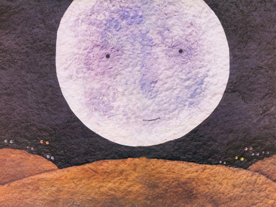 คืนหนึ่ง ขณะที่พระจันทร์ลอยขึ้นบนท้องฟ้า ดวงกลมโตส่องสว่างขาวนวลอยู่นั้น พวกสัตว์ ทั้งหลายต่างก็ออกมาแอบดูพระจันทร์กันเต็ม ไปหมด โอ้โฮ ฉันว่าพระจันทร์ต้องหวานเหมือนอ้อย แน่เลย ช้างพูดขึ้น แต่ลิงว่า พระจันทร์ต้องอร่อยเหมือนกล้วย ต่างหาก เต่าเถียงว่า ไม่ใช่ พระจันทร์ต้องอร่อยเหมือน ผักบุ้งสิ พอพูดจบเต่าก็คลานต้วมเตี้ยมๆ ขึ้นไปบนภูเขา เพื่อไปชิมพระจันทร์