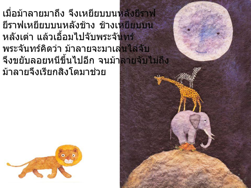เมื่อสิงโตมาถึง จึงเหยียบบนหลังม้าลาย ม้าลาย เหยียบบนหลังยีราฟ ยีราฟเหยียบบนหลังช้าง ช้างเหยียบบนหลังเต่า แล้วเอื้อมไปจับพระจันทร์ พระจันทร์คิดว่า สิงโตจะมาเล่นไล่จับ จึงขยับ ลอยหนีขึ้นไปอีก จนสิงโตจับไม่ถึง สิงโตจึงเรียกหมาจิ้งจอกมาช่วย