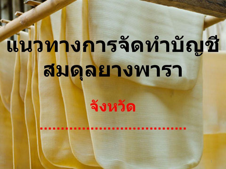 แนวทางการจัดทำบัญชี สมดุลยางพารา จังหวัด................................... 1