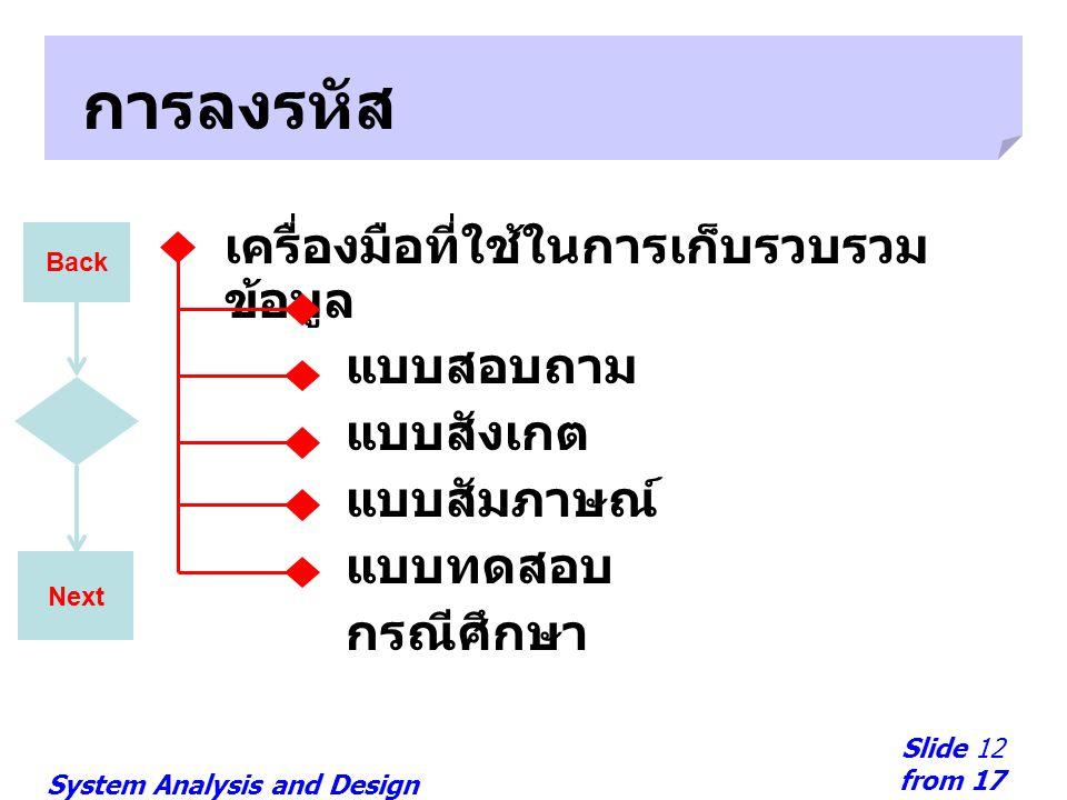 System Analysis and Design Slide 12 from 17 Next การลงรหัส เครื่องมือที่ใช้ในการเก็บรวบรวม ข้อมูล แบบสอบถาม แบบสังเกต แบบสัมภาษณ์ แบบทดสอบ กรณีศึกษา B