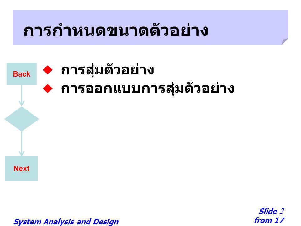 System Analysis and Design Slide 3 from 17 Next การกำหนดขนาดตัวอย่าง การสุ่มตัวอย่าง การออกแบบการสุ่มตัวอย่าง Back
