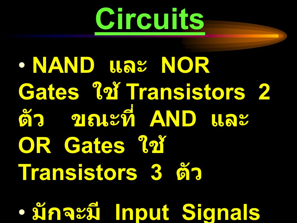 Precedence NOT AND OR XOR ( Exclusive-OR ) NAND ( Negative AND ) NOR ( Negative OR ) ทำ ก่อน ทำที หลัง