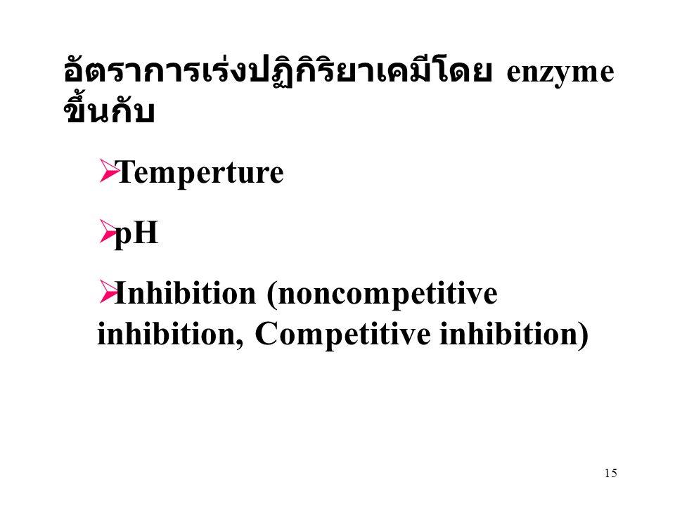 15 อัตราการเร่งปฏิกิริยาเคมีโดย enzyme ขึ้นกับ  Temperture  pH  Inhibition (noncompetitive inhibition, Competitive inhibition)