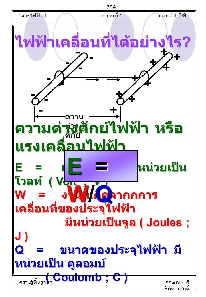 ไฟฟ้าเคลื่อนที่ได้อย่างไร ? - - - - - - - - + + + + + + + + +- ความ ต่าง ศักย์ ความต่างศักย์ไฟฟ้า หรือ แรงเคลื่อนไฟฟ้า E = แรงดันไฟฟ้า มีหน่วยเป็น โวล