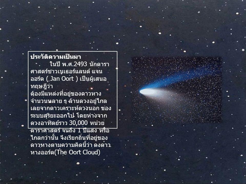 ประวัติความเป็นมา ในปี พ. ศ.2493 นักดารา ศาสตร์ชาวเนเธอร์แลนด์ แจน ออร์ด ( Jan Oort ) เป็นผู้เสนอ ทฤษฎีว่า ต้องมีแหล่งที่อยู่ของดาวหาง จำนวนหลาย ๆ ล้า