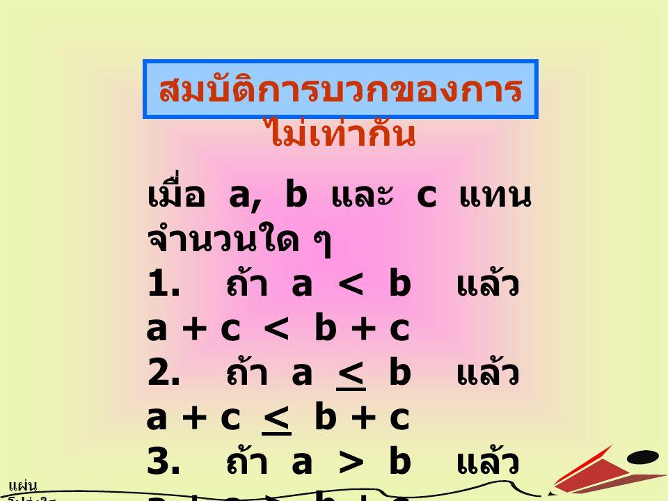 สมบัติการบวกของการ ไม่เท่ากัน เมื่อ a, b และ c แทน จำนวนใด ๆ 1. ถ้า a b แล้ว a + c > b + c 4. ถ้า a > b แล้ว a + c > b + c แผ่น โปร่งใส 6.7
