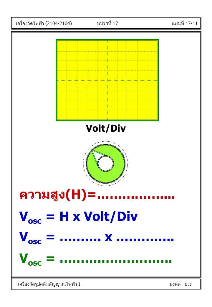 แผ่นที่ 17-11 V osc = H x Volt/Div Volt/Div หน่วยที่ 17 เครื่องวัดไฟฟ้า (2104-2104) เครื่องวัดรูปคลื่นสัญญาณไฟฟ้า 1 มงคล ธุระ ความสูง(H)=…………….... V o