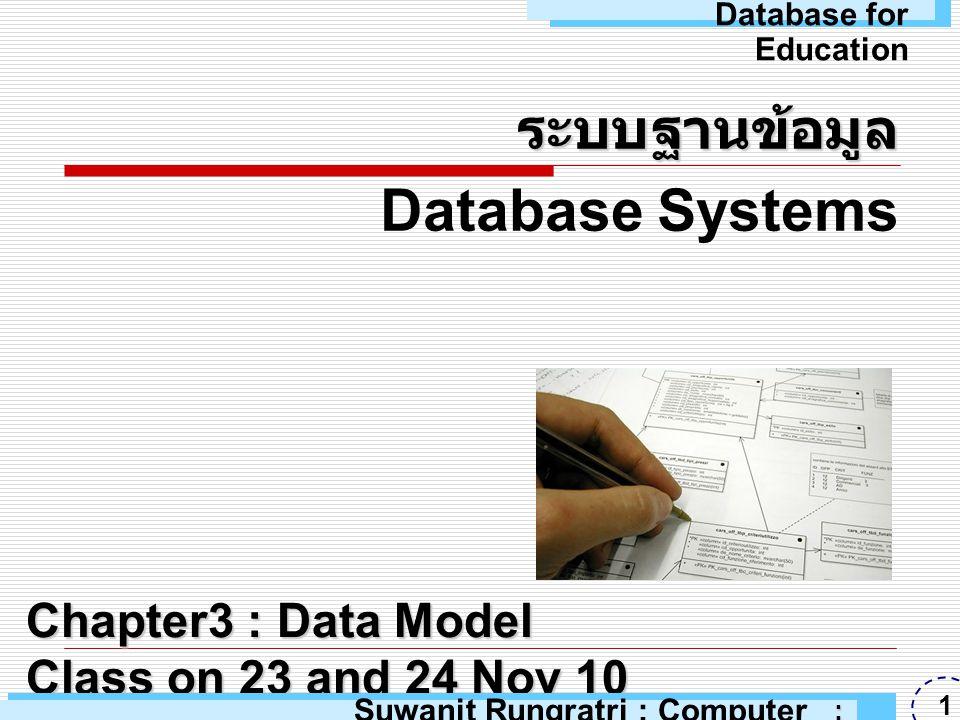 แบบจำลองข้อมูล  แบบจำลองข้อมูล (Data Model) คือ เครื่องมือในเชิงแนวความคิดที่ใช้ใน การอธิบายข้อมูล โครงสร้างข้อมูล ความสัมพันธ์ของข้อมูล ความหมาย ของข้อมูล และเงื่อนไขบังคับความ สอดคล้องกันของข้อมูล Suwanit Rungratri : Computer Education : ARU 2 Database for Education