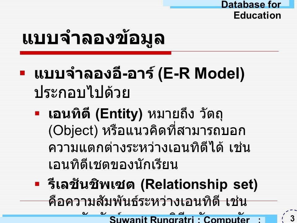 แบบจำลองข้อมูล  แบบจำลองอี - อาร์ (E-R Model) จะ ถูกแสดงด้วยแผนผังอี - อาร์ (E-R Diagram) โดยมีสัญลักษณ์ดังนี้  รูปสี่เหลี่ยม ใช้แทนเอนทิตีเซต (Entity Set)  รูปวงรี ใช้แทนแอตทริบิวต์ (Attributes)  รูปสี่เหลี่ยมขนมเปียกปูน ใช้แทนรีเล ชันชิพ  เส้นตรง ใช้แทนการเชื่อมต่อของแอ ตทริบิวต์กับเอนทิตีเซต และการ เชื่อมต่อของเอนทิตีเซตกับรีเลชันชิพ Suwanit Rungratri : Computer Education : ARU 4 Database for Education