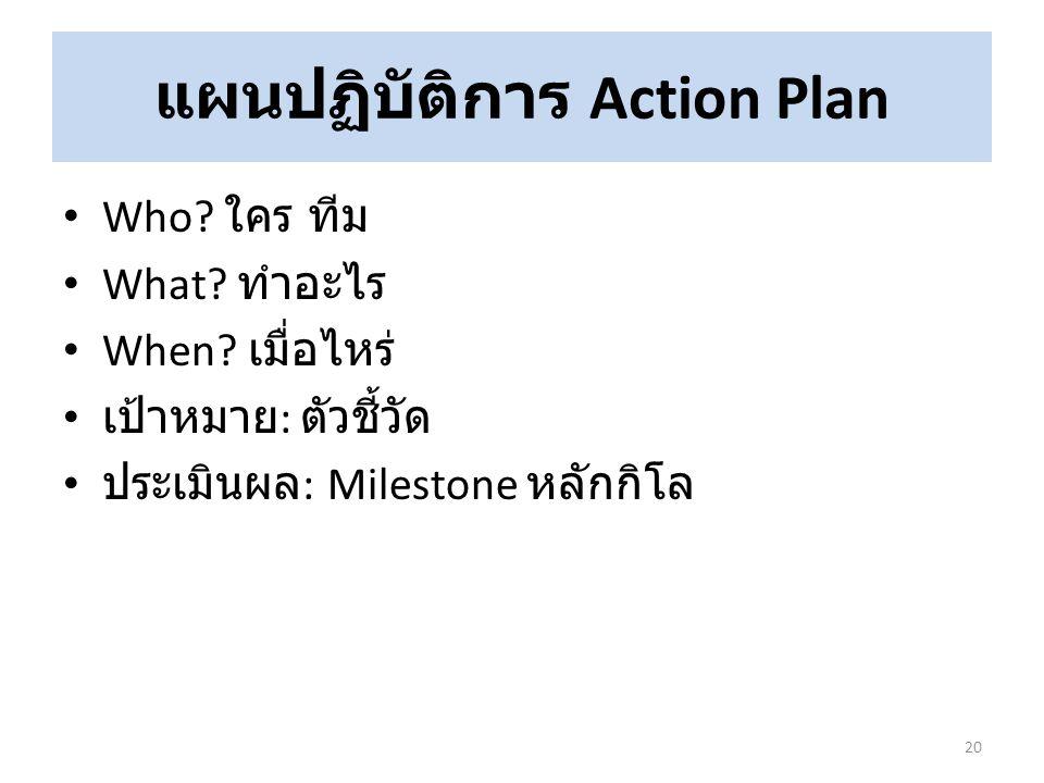 แผนปฏิบัติการ Action Plan Who? ใคร ทีม What? ทำอะไร When? เมื่อไหร่ เป้าหมาย : ตัวชี้วัด ประเมินผล : Milestone หลักกิโล 20