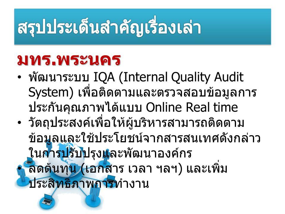 มทร. พระนคร พัฒนาระบบ IQA (Internal Quality Audit System) เพื่อติดตามและตรวจสอบข้อมูลการ ประกันคุณภาพได้แบบ Online Real time วัตถุประสงค์เพื่อให้ผู้บร