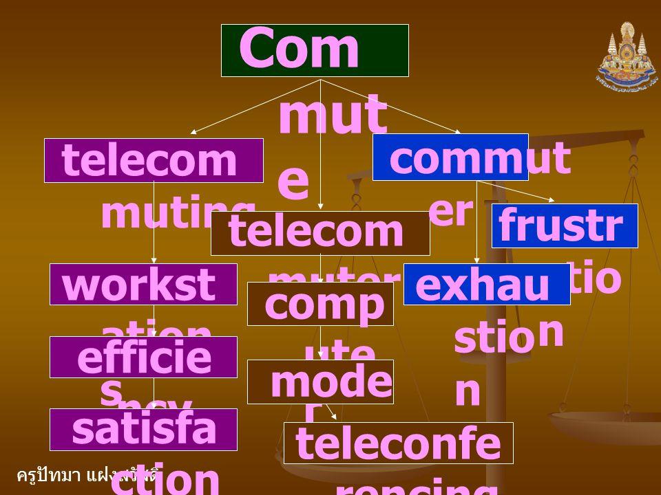 ครูปัทมา แฝงสวัสดิ์ Com mut e telecom muting telecom muter commut er workst ation s efficie ncy satisfa ction comp ute r mode m frustr atio n exhau stio n teleconfe rencing
