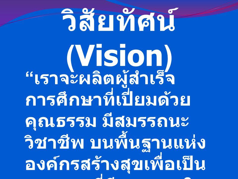 """วิสัยทัศน์ (Vision) """" เราจะผลิตผู้สำเร็จ การศึกษาที่เปี่ยมด้วย คุณธรรม มีสมรรถนะ วิชาชีพ บนพื้นฐานแห่ง องค์กรสร้างสุขเพื่อเป็น บุคลากรที่มีคุณภาพใน ปร"""