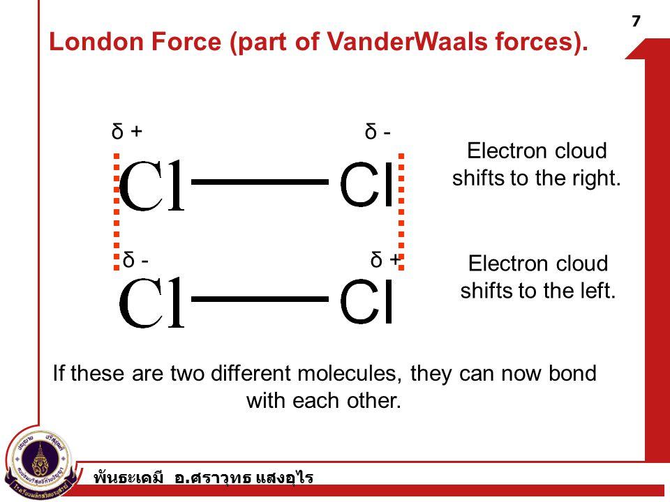 พันธะเคมี อ. ศราวุทธ แสงอุไร δ + δ - Electron cloud shifts to the right.