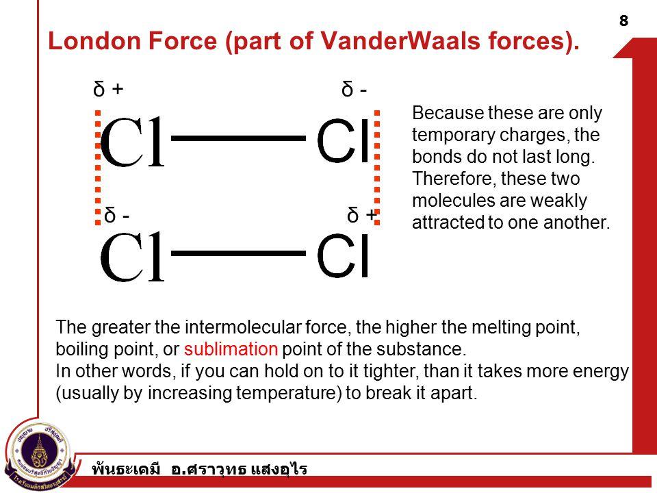 พันธะเคมี อ. ศราวุทธ แสงอุไร London Force (part of VanderWaals forces).