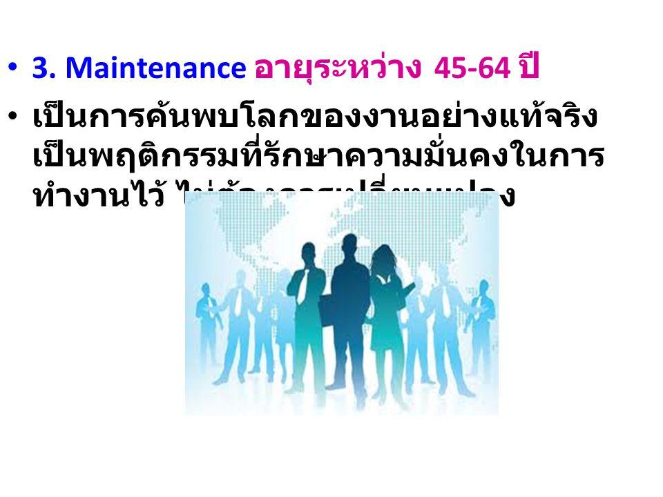 3. Maintenance อายุระหว่าง 45-64 ปี เป็นการค้นพบโลกของงานอย่างแท้จริง เป็นพฤติกรรมที่รักษาความมั่นคงในการ ทำงานไว้ ไม่ต้องการเปลี่ยนแปลง