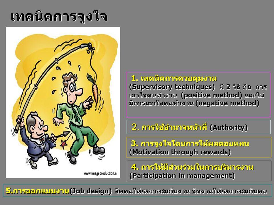 1. เทคนิคการควบคุมงาน (Supervisory techniques) มี 2 วิธี คือ การ เอาใจคนทำงาน (positive method) และไม่ มีการเอาใจคนทำงาน (negative method) เทคนิคการจู