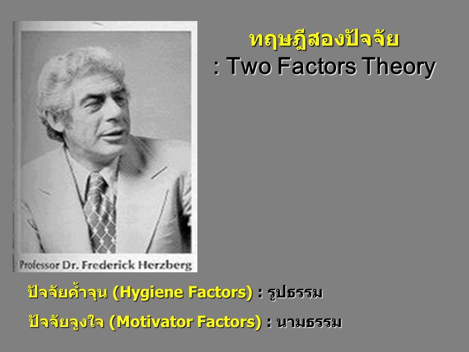 ทฤษฎีสองปัจจัย : Two Factors Theory ปัจจัยค้ำจุน (Hygiene Factors) : รูปธรรม ปัจจัยจูงใจ (Motivator Factors) : นามธรรม