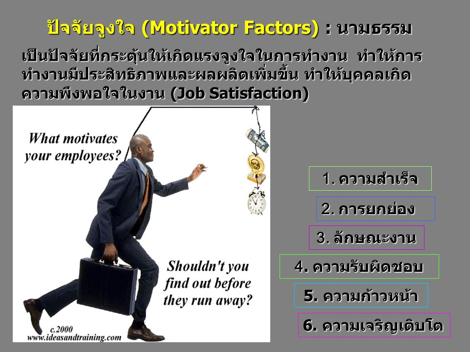 เป็นปัจจัยที่กระตุ้นให้เกิดแรงจูงใจในการทำงาน ทำให้การ ทำงานมีประสิทธิภาพและผลผลิตเพิ่มขึ้น ทำให้บุคคลเกิด ความพึงพอใจในงาน (Job Satisfaction) 6.