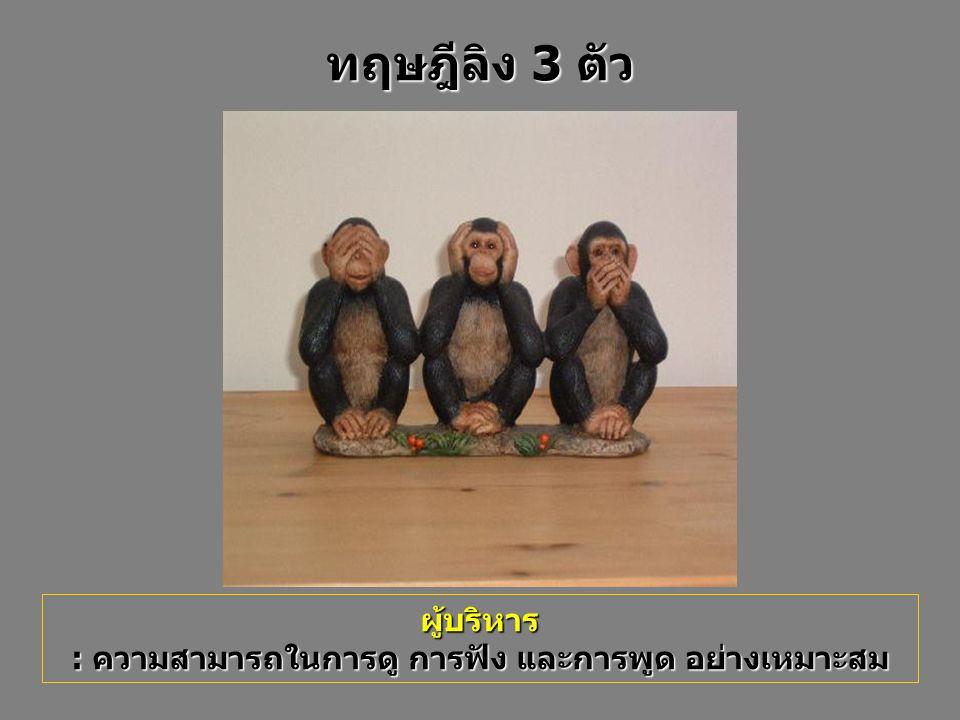 ผู้บริหาร : ความสามารถในการดู การฟัง และการพูด อย่างเหมาะสม ทฤษฎีลิง 3 ตัว