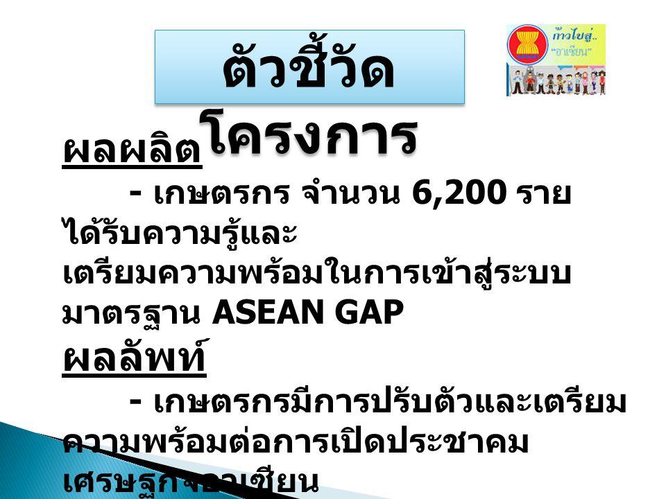ตัวชี้วัด โครงการ ผลผลิต - เกษตรกร จำนวน 6,200 ราย ได้รับความรู้และ เตรียมความพร้อมในการเข้าสู่ระบบ มาตรฐาน ASEAN GAP ผลลัพท์ - เกษตรกรมีการปรับตัวและ