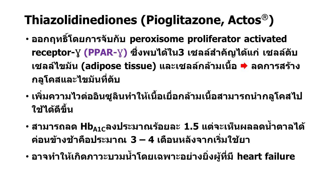 Thiazolidinediones (Pioglitazone, Actos  ) ออกฤทธิ์โดยการจับกับ peroxisome proliferator activated receptor- Ɣ (PPAR- Ɣ ) ซึ่งพบได้ใน3 เซลล์สำคัญได้แก