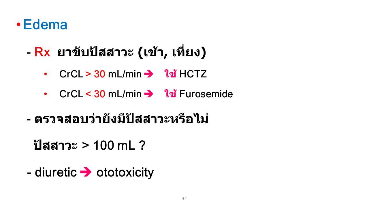 44 Edema - Rx ยาขับปัสสาวะ ( เช้า, เที่ยง ) CrCL > 30 mL/min  ใช้ HCTZ CrCL < 30 mL/min  ใช้ Furosemide - ตรวจสอบว่ายังมีปัสสาวะหรือไม่ ปัสสาวะ > 10