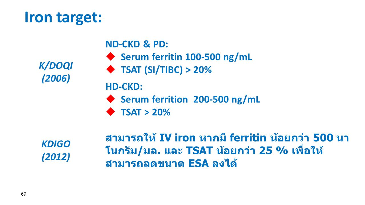 69 K/DOQI (2006) ND-CKD & PD:  Serum ferritin 100-500 ng/mL  TSAT (SI/TIBC) > 20% HD-CKD:  Serum ferrition 200-500 ng/mL  TSAT > 20% KDIGO (2012) สามารถให้ IV iron หากมี ferritin น้อยกว่า 500 นา โนกรัม/มล.