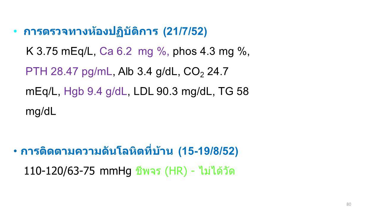80 การตรวจทางห้องปฏิบัติการ (21/7/52) K 3.75 mEq/L, Ca 6.2 mg %, phos 4.3 mg %, PTH 28.47 pg/mL, Alb 3.4 g/dL, CO 2 24.7 mEq/L, Hgb 9.4 g/dL, LDL 90.3