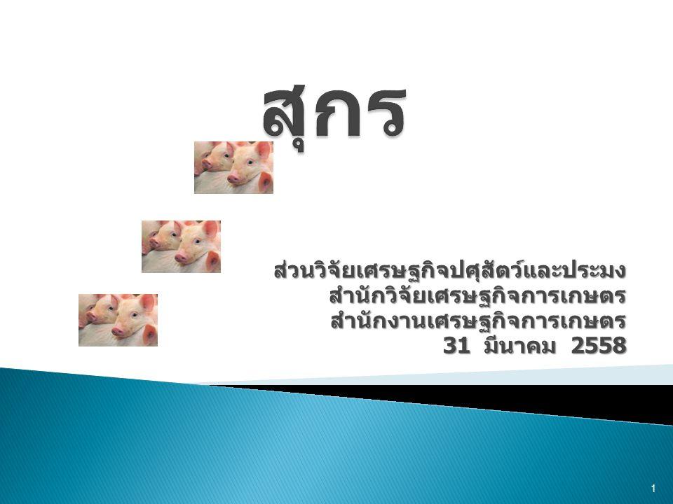  สถานการณ์สุกรปี 2557 และแนวโน้ม ปี 2558  การจัดทำบัญชีสมดุลสินค้าสุกร  การบริหารจัดการอุปทานและอุปสงค์ สินค้าสุกร 2