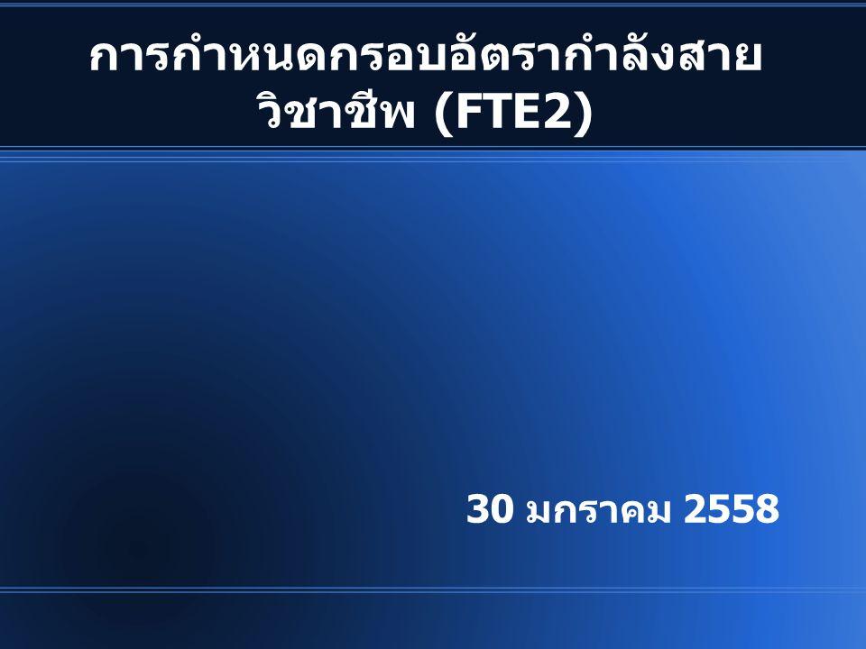 สรุป อัตรากำลังที่ควรมี วิชาชีพFTE 1FTE 2 จ้างงาน (คน) กย.56 (จ.18) จ้าง งาน (%) 4.