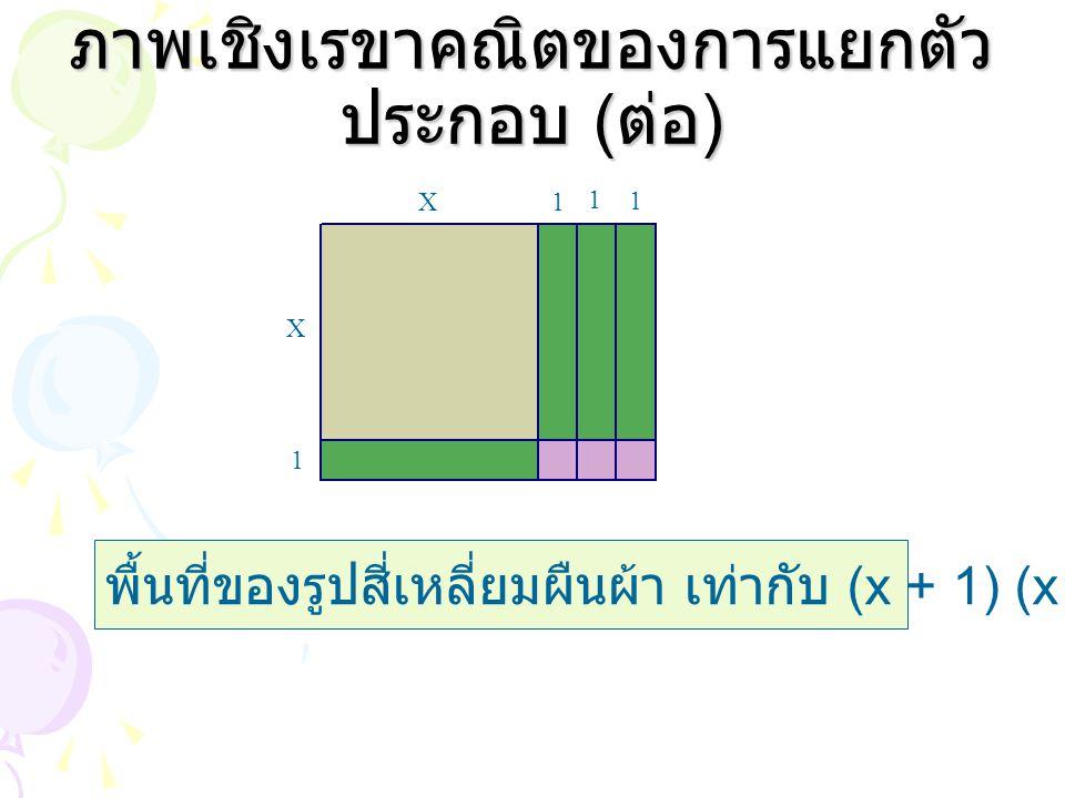 ภาพเชิงเรขาคณิตของการแยกตัว ประกอบ ( ต่อ ) พื้นที่ของรูปสี่เหลี่ยมผืนผ้า เท่ากับ (x + 1) (x +3) หน่วย 2 X X 1 1 1 1