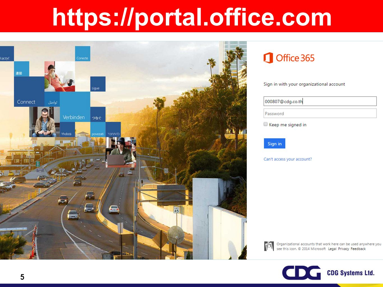 16 https://portal.office.com Username: 00xxxx@cdg.co.th