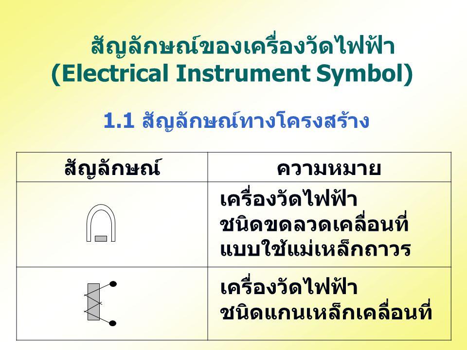 สัญลักษณ์ของเครื่องวัดไฟฟ้า (Electrical Instrument Symbol) 1.1 สัญลักษณ์ทางโครงสร้าง สัญลักษณ์ความหมาย เครื่องวัดไฟฟ้า ชนิดขดลวดเคลื่อนที่ แบบใช้แม่เห