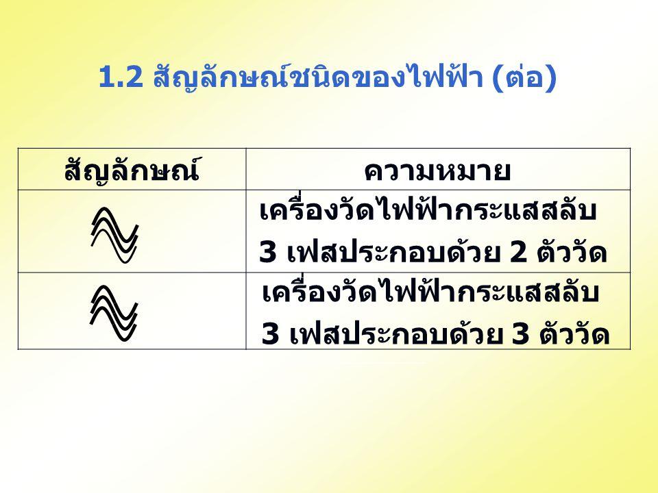 สัญลักษณ์ความหมาย 1.2 สัญลักษณ์ชนิดของไฟฟ้า (ต่อ) เครื่องวัดไฟฟ้ากระแสสลับ 3 เฟสประกอบด้วย 2 ตัววัด เครื่องวัดไฟฟ้ากระแสสลับ 3 เฟสประกอบด้วย 3 ตัววัด