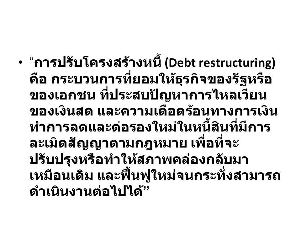 """"""" การปรับโครงสร้างหนี้ (Debt restructuring) คือ กระบวนการที่ยอมให้ธุรกิจของรัฐหรือ ของเอกชน ที่ประสบปัญหาการไหลเวียน ของเงินสด และความเดือดร้อนทางการเ"""